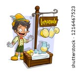 cartoon young pinocchio with... | Shutterstock .eps vector #1216467523