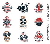 set of vector gym theme emblems ... | Shutterstock .eps vector #1216474366