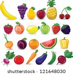cartoon vegetables and fruits | Shutterstock .eps vector #121648030