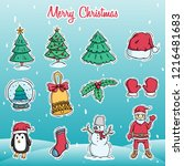 set of cute christmas character ... | Shutterstock .eps vector #1216481683