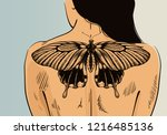 girl with tattoo on banner.... | Shutterstock .eps vector #1216485136