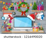 christmas or new year office... | Shutterstock .eps vector #1216490020