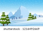 winter snowy mountains... | Shutterstock .eps vector #1216492669