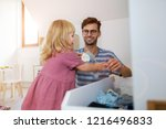 father playing with daughter at ... | Shutterstock . vector #1216496833