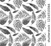 summer palm tree and banana... | Shutterstock . vector #1216510366