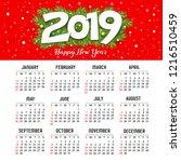 calendar new year 2019  red... | Shutterstock .eps vector #1216510459