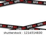 black ribbons for super sale... | Shutterstock .eps vector #1216514830