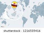 world map centered on america... | Shutterstock . vector #1216535416