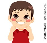 young happy boy smiling showing ... | Shutterstock .eps vector #1216536643