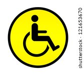 disabled person warning road | Shutterstock . vector #121653670