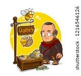 cartoon old bald monk character ... | Shutterstock .eps vector #1216546126