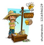 cartoon farmer in straw hat... | Shutterstock .eps vector #1216546129