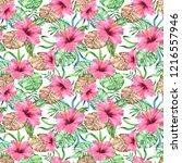 tropical hawaiian print... | Shutterstock . vector #1216557946