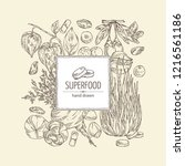 background with super food ... | Shutterstock .eps vector #1216561186