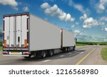 container on the big highway.... | Shutterstock . vector #1216568980