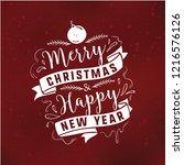 merry christmas. typography.... | Shutterstock .eps vector #1216576126