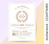 cute wedding invitation card... | Shutterstock .eps vector #1216576483