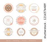 retro pastel wedding logo frame ... | Shutterstock .eps vector #1216576489