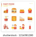 fast food icon set | Shutterstock .eps vector #1216581280