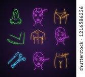 plastic surgery neon light... | Shutterstock .eps vector #1216586236