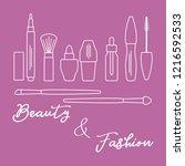 makeup. decorative cosmetics ... | Shutterstock .eps vector #1216592533
