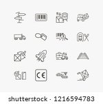 delivery icon set and forklift...