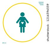 pregnant woman icon with heart. ... | Shutterstock .eps vector #1216596559