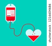 blood pour from blood bag to... | Shutterstock .eps vector #1216604686