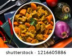 curry and carrot beef sirloin | Shutterstock . vector #1216605886