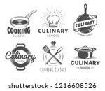 culinary school logos. vector... | Shutterstock .eps vector #1216608526