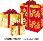 holiday boxes with ribbons of...   Shutterstock .eps vector #121661008
