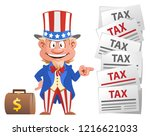 smiling uncle sam points at the ... | Shutterstock .eps vector #1216621033