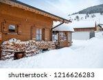 winter in schwarzwald. wooden...   Shutterstock . vector #1216626283