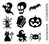 happy halloween elements trick... | Shutterstock .eps vector #1216628356