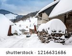 winter in schwarzwald. wooden...   Shutterstock . vector #1216631686