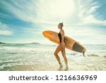 beautiful sexy and sporty girl... | Shutterstock . vector #1216636969