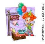 cartoon redhead clown with... | Shutterstock .eps vector #1216641013