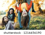 a portrait of young family with ... | Shutterstock . vector #1216656190