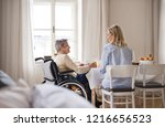 a senior woman in wheelchair... | Shutterstock . vector #1216656523