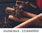 set of spices for mulled wine... | Shutterstock . vector #1216660003