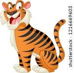 cartoon cute tiger. vector... | Shutterstock .eps vector #1216669603
