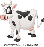 cartoon spotted cow. vector... | Shutterstock .eps vector #1216674553