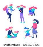 vector people character. mother ... | Shutterstock .eps vector #1216678423