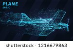 the plane of the blue glowing... | Shutterstock .eps vector #1216679863