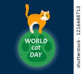world cat day. vector... | Shutterstock .eps vector #1216688713