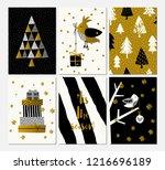a set of six christmas designs...   Shutterstock .eps vector #1216696189