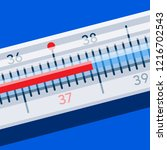 medical thermometer shows high...   Shutterstock .eps vector #1216702543