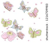 cute vector butterflies on a... | Shutterstock .eps vector #1216709983