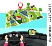 hands on steering wheel with... | Shutterstock .eps vector #1216710559