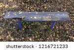 green city park. old wooden... | Shutterstock . vector #1216721233